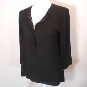 3/$20 Express Sheer Black High-Low Blouse Size S